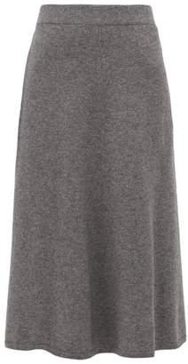 Joseph Wool Blend Fluted Midi Skirt - Womens - Dark Grey