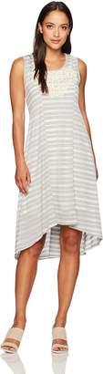 OneWorld Women's Petite Size Sleeveless Striped Knit Dress with Applique