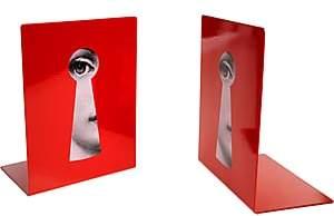 Fornasetti Serratura Bookends-Red