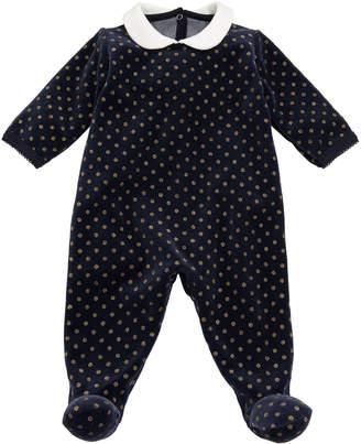 Petit Bateau Velour Sparkle Polka-Dot Footie Pajamas, Size 1-6 Months