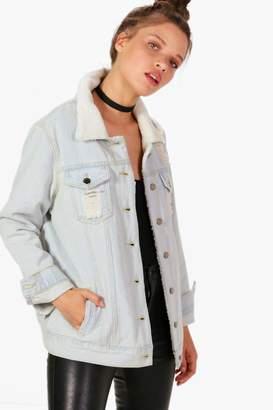 boohoo Jennifer Oversize Distressed Borg Lined Denim Jacket