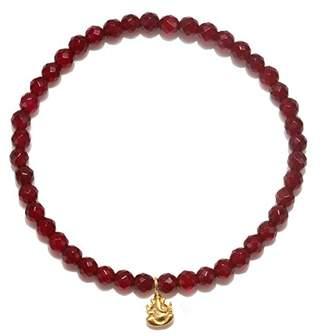 Satya Jewelry Womens Carnelian Gold Ganesha Stretch Bracelet