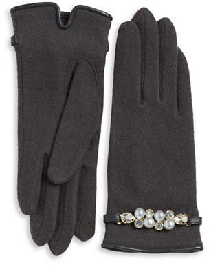 Portolano Faux Pearl-Accented Wool-Blend Gloves $60 thestylecure.com