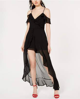 Material Girl Juniors' Ruffled High-Low Romper Dress