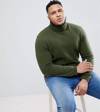Asos DESIGN PLUS Lambswool Roll Neck Sweater In Dark Green