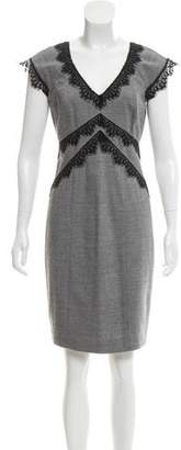 Rebecca Taylor Lace-Accented Knee-Length Dress