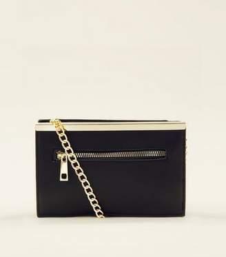 New Look Black Zip Front Chain Cross Body Bag