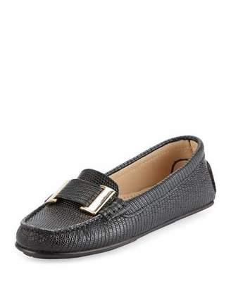 Delman Renna Lizard-Embossed Ornament Loafer, Black $278 thestylecure.com