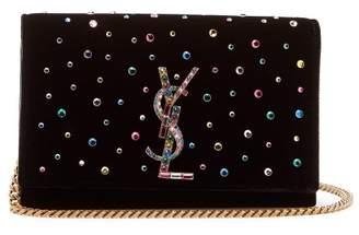 Saint Laurent Kate Small Crystal Embellished Cross Body Bag - Womens - Black Multi