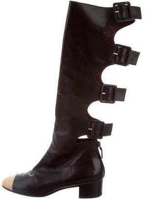 Chanel Cutout Cap-Toe Boots
