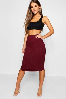 boohoo Petite Bandage Curve Hem Midi Skirt