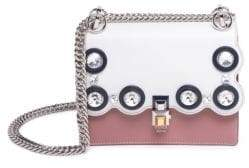 Fendi Kan I Small Crystal-Studded Two-Tone Leather Chain Bag