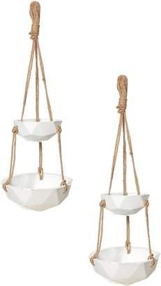 Rogue Geo Hanging Bowls, White (Set of 2)
