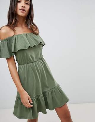 Asos DESIGN off shoulder sundress with tiered skirt