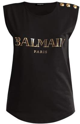 Balmain Logo Print Cotton Tank Top - Womens - Black