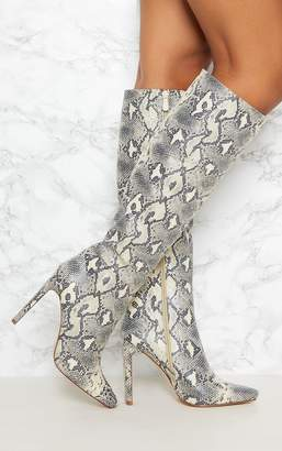 PrettyLittleThing Beige Snake Print Knee High Heeled Boot