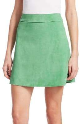 Theory High-Waist Suede A-Line Mini Skirt