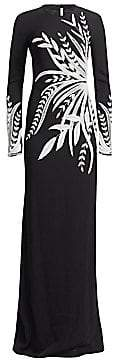 Naeem Khan Women's Embroidered Floral Long-Sleeve Gown
