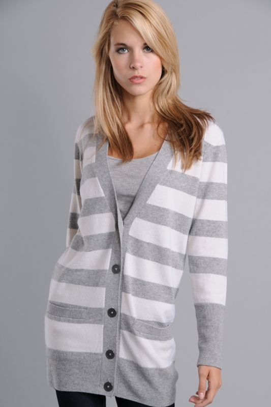 Vince Rugby Striped Ensign Cardigan Sweater