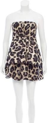 Tibi Leopard Strapless Dress