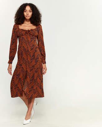 Lush Drawstring Neck Midi Dress