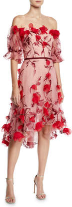 Marchesa Off-the-Shoulder 3D Floral Embroidered Cocktail Dress