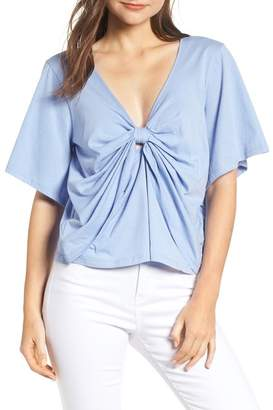 Calibe Knot Front Flutter Sleeve Tee