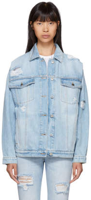 Stella McCartney Blue Shoulder Rip Denim Jacket