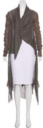 Isabel Benenato Leather-Accented Knit Cardigan