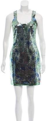 Versace Floral Print Sequin Dress
