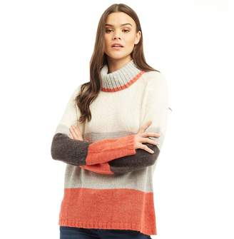 Jacqueline De Yong Womens Cordelia High Neck Jumper Mineral Red Colourblock