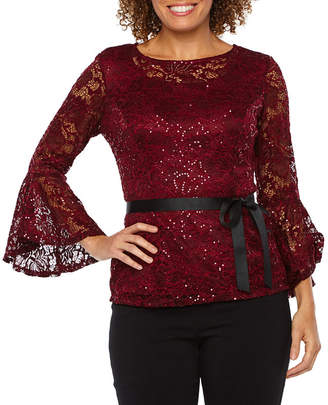 Onyx Nites Long Bell Sleeve Lace Blouse