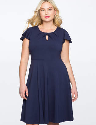 ELOQUII Keyhole Neckline Fit and Flare Dress