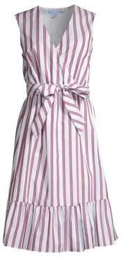 Draper James Women's Sleeveless Striped Wrap Dress - Pink Multi - Size 0