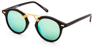 KREWE St. Louis Round Mirrored Sunglasses, Black $255 thestylecure.com