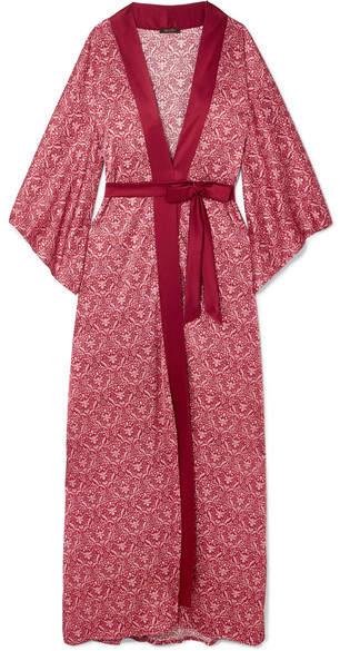 Coco de Mer - Printed Stretch-silk Satin Robe - Red