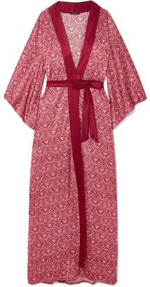 Coco de Mer - Printed Stretch-silk Satin Robe - Red