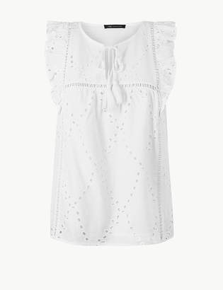 e51f61b395011 Marks and Spencer Pure Cotton Embroidered Shell Top