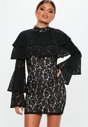 Missguided Black Frill Lace Overlay Bodycon Dress