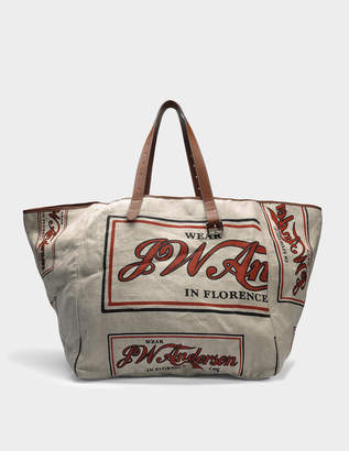 J.W.Anderson Printed Tote Bag in Sandstone Linen and Calfskin