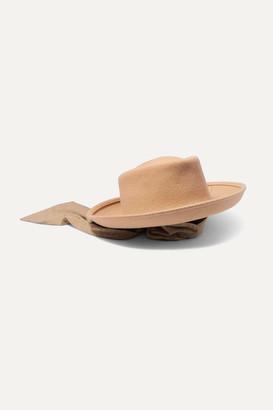 CLYDE Gambler Voile-trimmed Wool-felt Hat