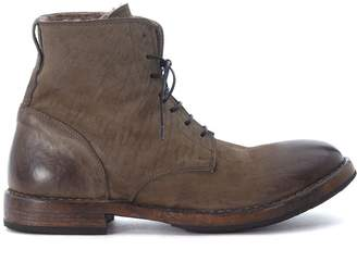 Moma Grey Vintage Leather And Sheepskin Ankle Boots