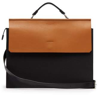 Nosakhari - Standout Bi Colour Grained Leather Briefcase - Mens - Black Brown