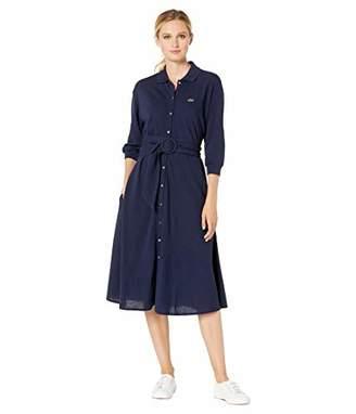 Lacoste Women's Long Sleeve Supple Pique Belted Shirt Dress