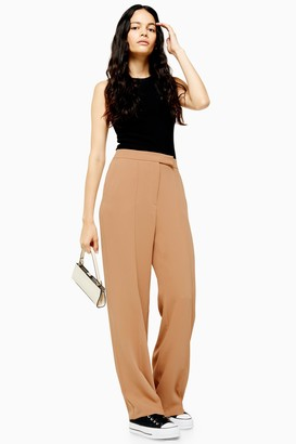 Topshop Camel Pintuck Wide Leg Trousers