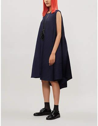 Pleats Please Issey Miyake Asymmetric-hem pleated woven dress