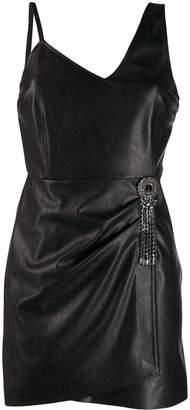 Pinko crystal brooch mini dress