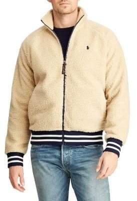Polo Ralph Lauren Men's Faux Shearling Baseball Jacket - Tan - Size Medium
