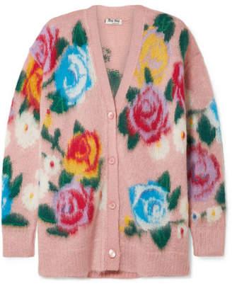 Miu Miu - Oversized Intarsia Mohair-blend Cardigan - Blush