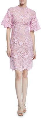 Monique Lhuillier Short-Sleeve Scalloped Lace Sheath Dress